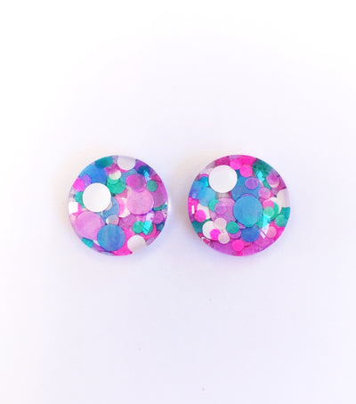 The 'Unicorn' Glitter Glass Earring Studs