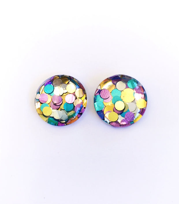 The 'Haze' Glitter Glass Earring Studs