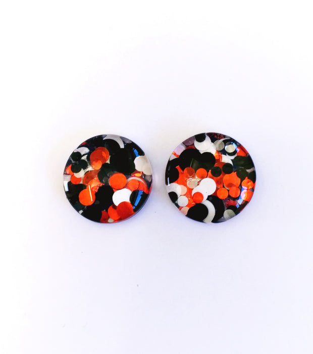 The 'Redback Spider' Glitter Glass Earring Studs