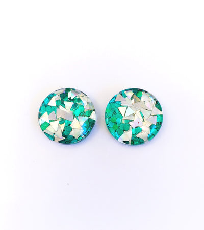 The 'Illusion' Glitter Glass Earring Studs