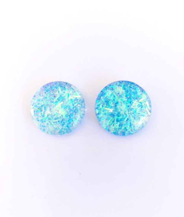 The 'Cloud 9' Glitter Glass Earring Studs