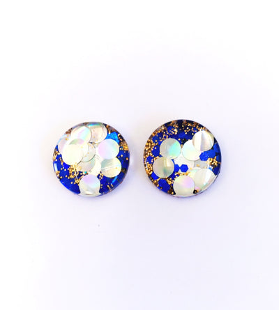 The 'Starships' Glitter Glass Earring Studs