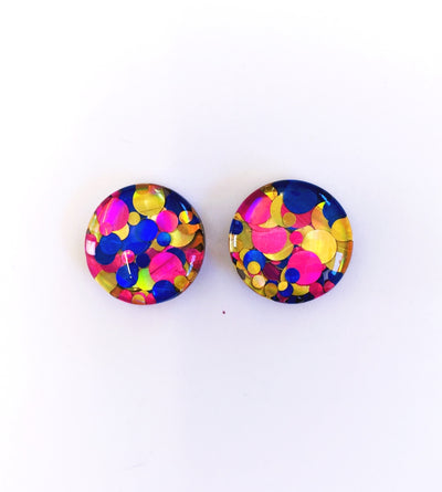 The 'Funhouse' Glitter Glass Earring Studs