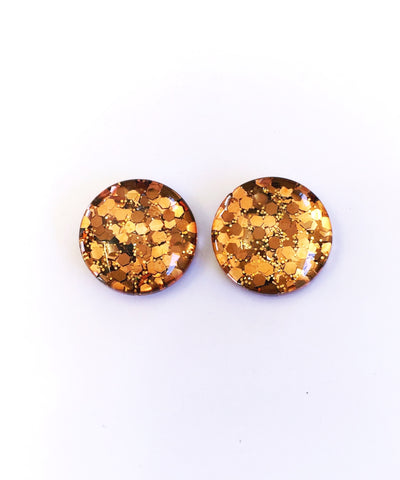 The 'Brown Sugar' Glitter Glass Earring Studs