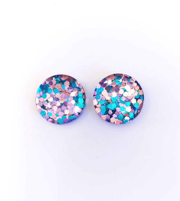 The 'Cotton Candy' Glitter Glass Earring Studs