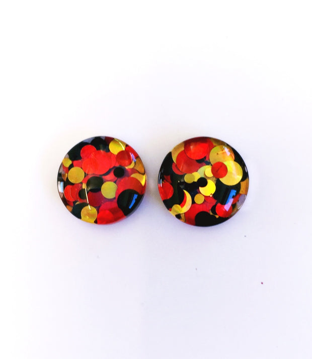 The 'Fire Engine' Glitter Glass Earring Studs