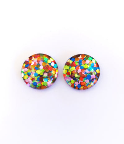 The 'Jelly Beans' Glitter Glass Earring Studs