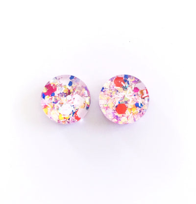 The 'Ice Princess' Glitter Glass Earring Studs