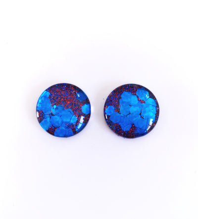 The 'Berry Bubblegum' Glitter Glass Earring Studs