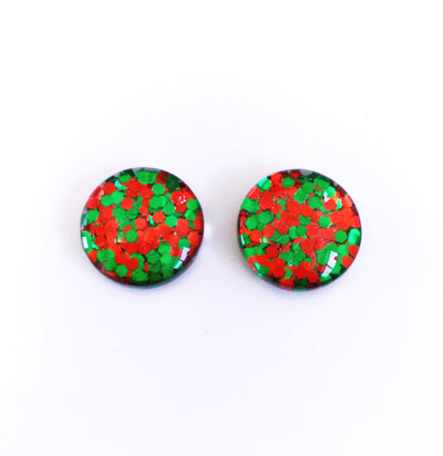 The 'Christmas Classic' Glitter Glass Earring Studs