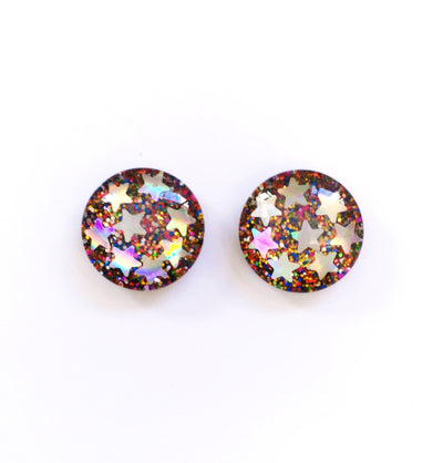 The 'Galaxy' Glitter Glass Earring Studs