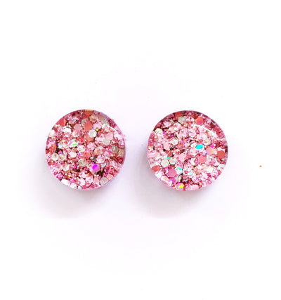 The 'Cherry Blossom' Glitter Glass Earring Studs