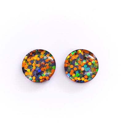 The 'All Hallows Eve' Glitter Glass Earring Studs