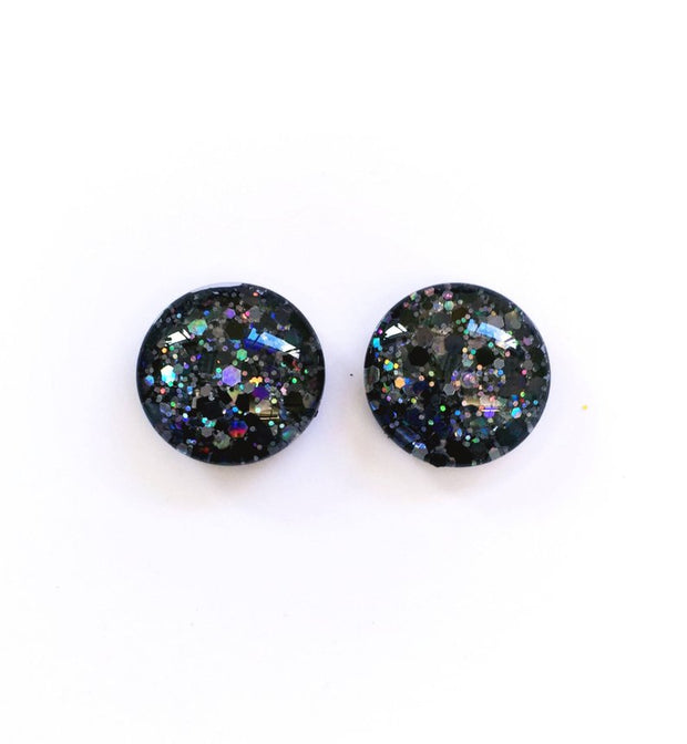 The 'Black Diamond' Glitter Glass Earring Studs