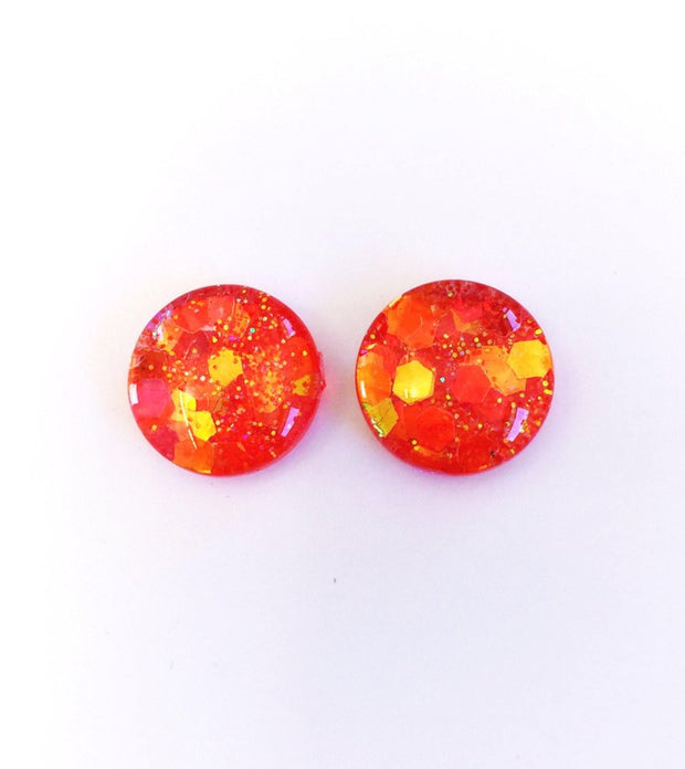 The 'Chilli Pepper' Glitter Glass Earring Studs