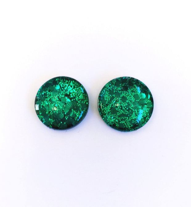 The 'Emerald Isle' Glitter Glass Earring Studs