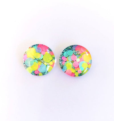 The 'Fairy Bread' Glitter Glass Earring Studs