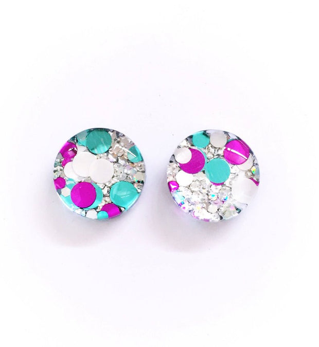 The 'Frost' Glitter Glass Earring Studs