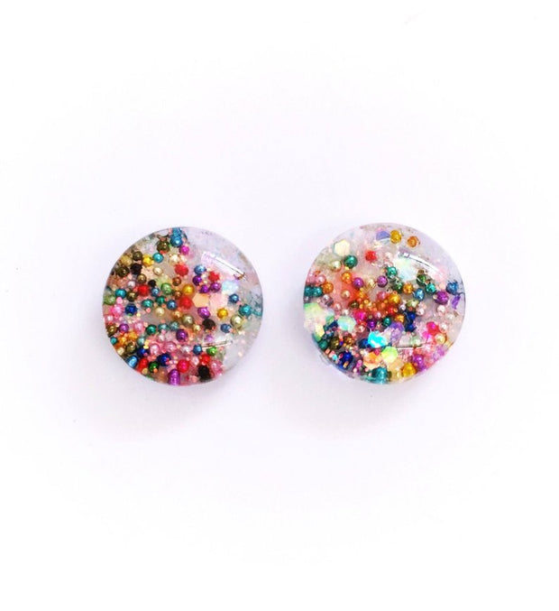 The 'Hundreds & Thousands' Glitter Glass Earring Studs