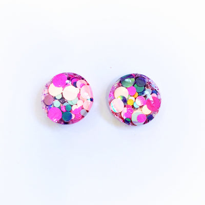 The 'Baby Doll' Glitter Glass Earring Studs