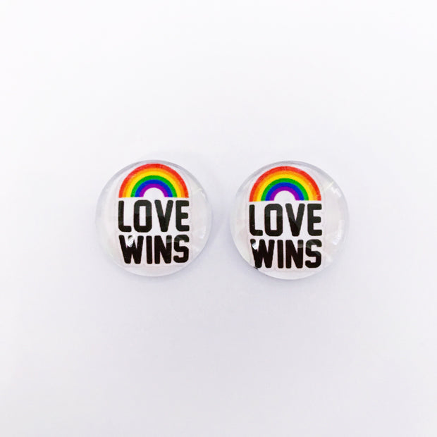The 'Love Wins' Glass Earring Studs