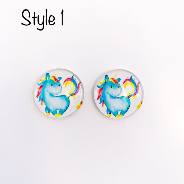 The 'Unicorn' Glass Earring Studs