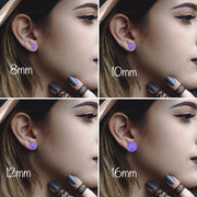 The 'Purple Rain' Glitter Glass Earring Studs