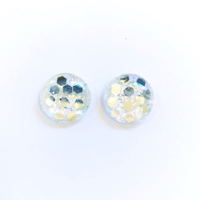 The 'Pearl' Glitter Glass Earring Studs
