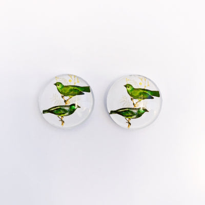 The 'Easy Being Green' Glass Earring Studs