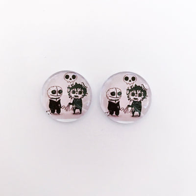 The 'Jack & Jill' Glass Earring Studs