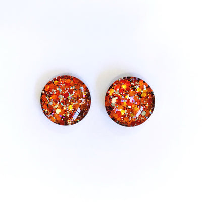 The 'Ember' Glitter Glass Earring Studs