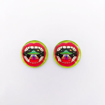 The 'Area 51' Glass Earring Studs