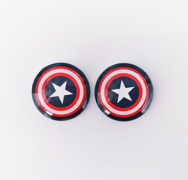 The 'Captain America' Glass Earring Studs