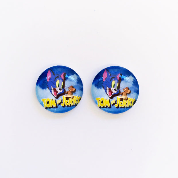 The 'Tom & Jerry' Glass Earring Studs