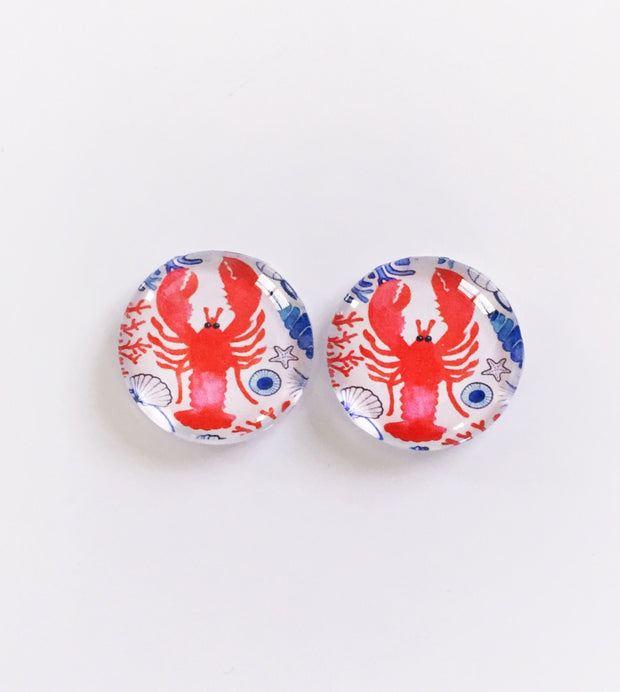 The 'Lobster' Glass Earring Studs