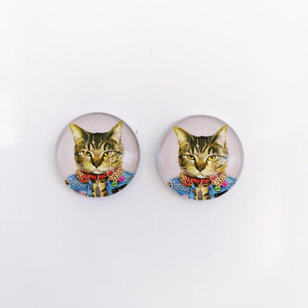 The 'Punk Cat' Glass Earring Studs