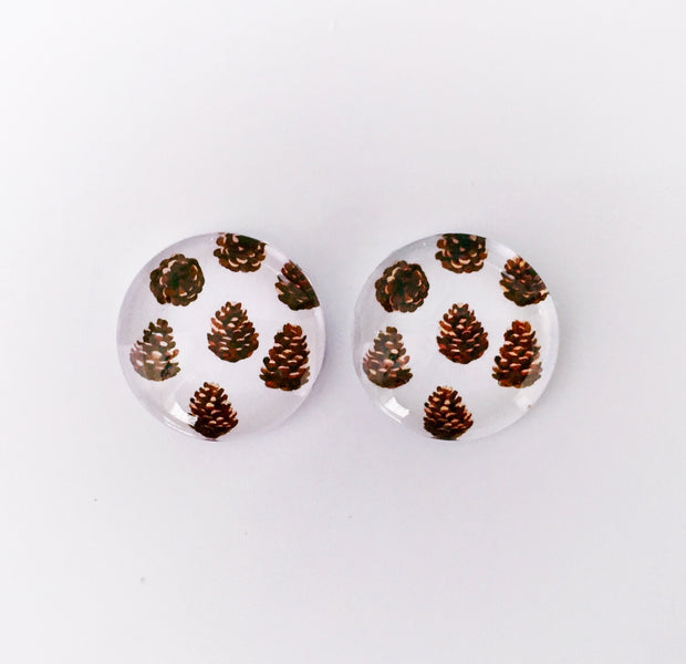 The 'Pine Cone' Glass Earring Studs