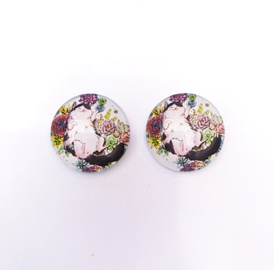 The 'Garden Cat' Glass Earring Studs