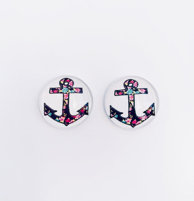 The 'Anchor' Glass Earring Studs