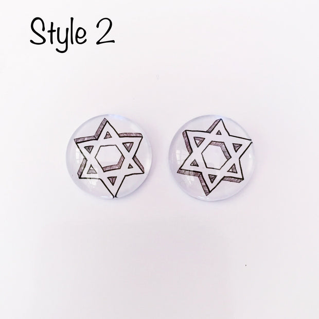 The 'Star Of David' Glass Earring Studs