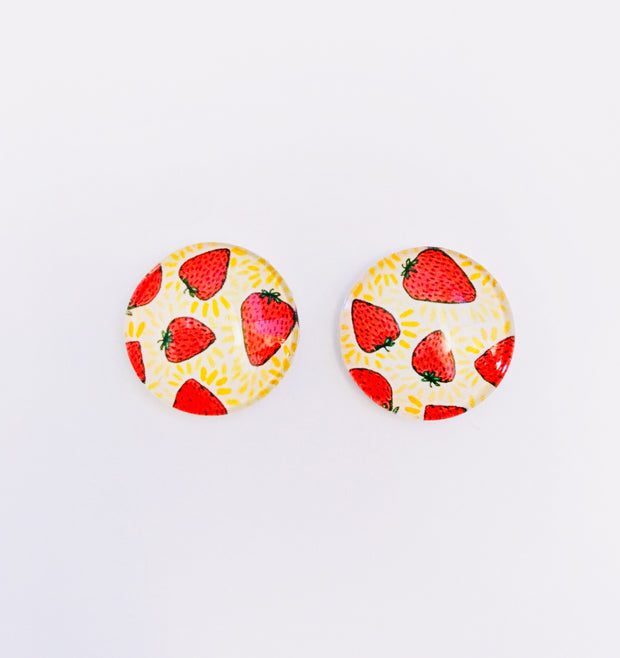 The 'Strawberry Obsession' Glass Earring Studs