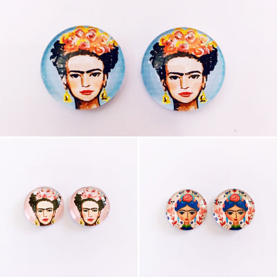 The 'Frida Kahlo' Glass Earring Studs