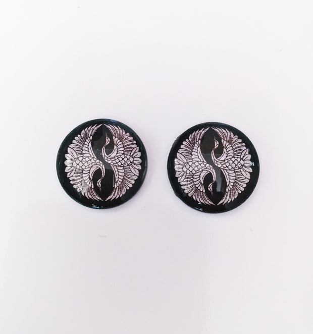 The 'White Crane' Glass Earring Studs