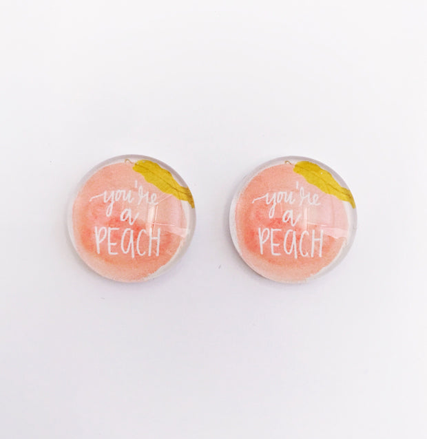 The 'Peachee' Glass Earring Studs