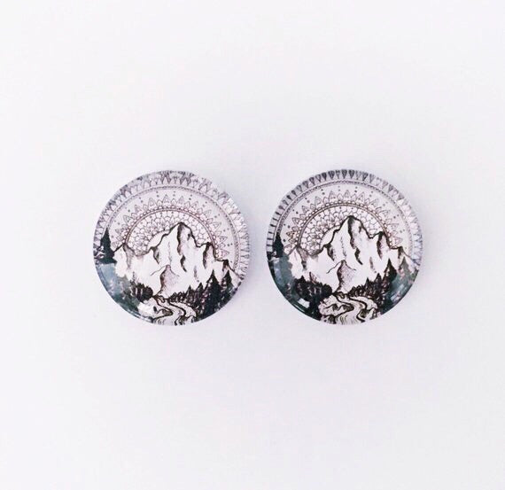 The 'Black Mountain' Glass Earring Studs