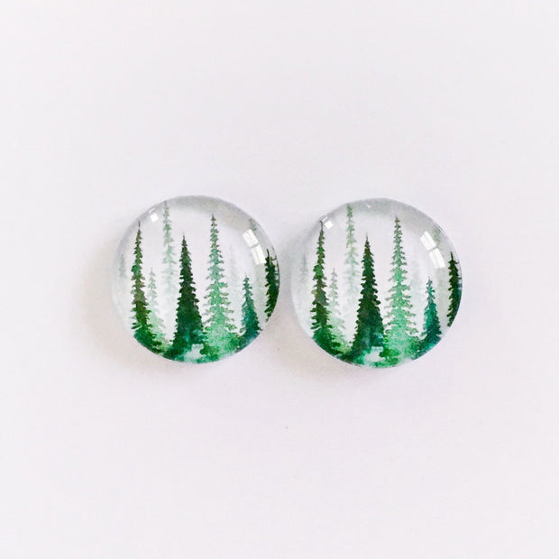 The 'Forest' Glass Earring Studs