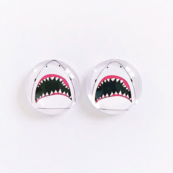 The 'Jaws' Glass Earring Studs