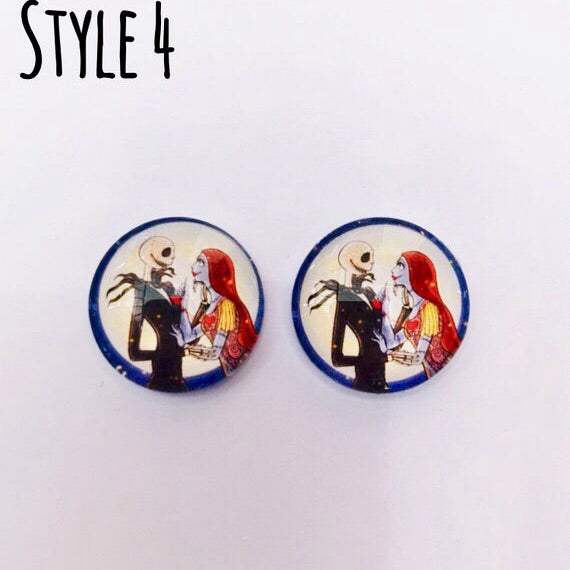 The 'Nightmare Before Christmas' Glass Earring Studs