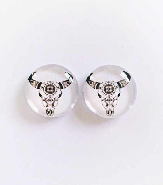 The 'Raging Bull' Glass Earring Studs