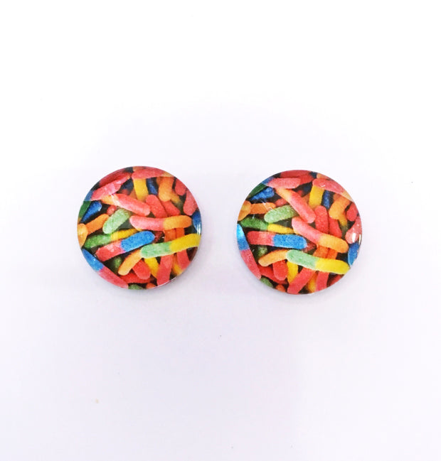 The 'Sour Worms' Glass Earring Studs